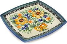 "Polish Pottery Square Plate 6"" Yellow Flower UNIKAT"