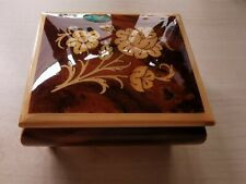 More details for romance wooden italian jewellery music box with swiss mechanism vintage exc