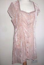 Mesdames MAIS IL EST OU LE SOLEIL Nude Rose Velours Motif Bouton Robe 42 14