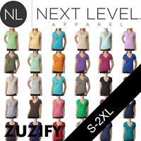 Next Level Apparel Ladies Junior Fit CVC Deep V-Neck T-Shirt. 6640