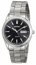 Seiko SNE039 Mens Watch Stainless Steel Solar Quartz Black Dial Day Date Watch