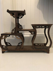 Vintage Chinese Wood Wooden Display Stand Shelf 5 Level Carved FOR Figurine etc