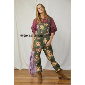 NEW Free People The Boyfriend Printed Overall Sz 28 Army Floral