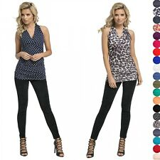 Glamour Empire Women's Halterneck Wrap Top With Ruching Sleeveless Close Fit 167