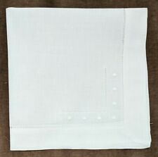 """18""""  Hemstitch with Embroidered Dots Dinner Napkins - 100% Linen -White Set of 6"""