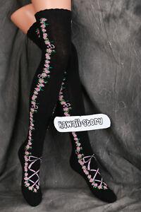 So-56 Black Pink Roses Flowers Bow Lolita Socks over the Knee Stockings Cute