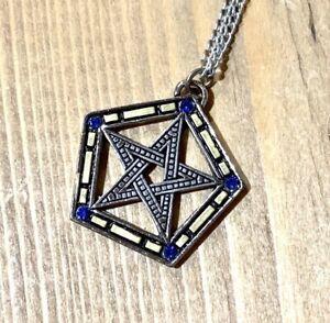 Encircled Pentagram Mosaic Pentacle Pendant Necklace Wicca Pagan Goth Gothic Alt