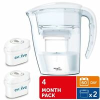 Aqua Optima Galia Water Jug 2.25L with 2 x 60 Day Evolve Filters - 4 Month Pack