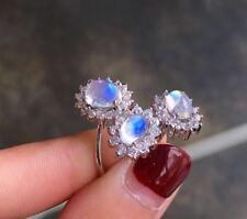 Certified Blue Moonstone 925 Sterling Sliver Ring Eardrop Set Engagement Gifts