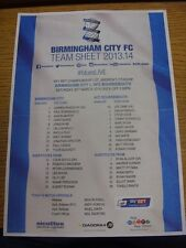 29/03/2014 Colour Teamsheet: Birmingham City v Bournemouth (folded) Plain Back.