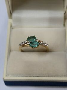 10ct Yellow Gold Emeralds And Topaz Ring