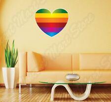 "Rainbow Lesbian Gay Pride Heart LGBT Wall Sticker Room Interior Decor 22""X22"""