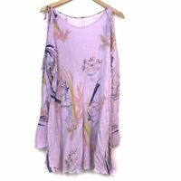 FREE PEOPLE Clear Skies Tunic Purple Floral Cold Shoulder Long Sleeve Top Medium