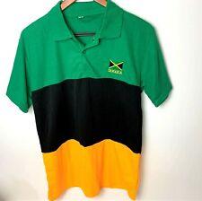 JAMAICA FLAG Embroidered Golf Performance Polo Shirt - Green Black Yellow