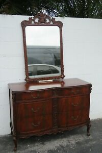 Flame Mahogany Hand Carved Dresser Bathroom Vanity with Mirror 2229