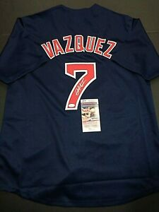 Christian Vazquez Boston Red Sox Autographed Custom Blue Style Jersey coa JSA