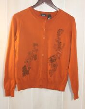 Mexx Copper/Orange Floral Beaded Cardigan Lightweight Sweater Women's Size M