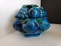 """VINTAGE INARCO E2375 INDIGO BLUE FRUIT CANDY DISH 6"""" H"""