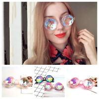 Festival Party Rave Kaleidoscope Rainbow Round Glasses Crystal Lens Sunglasses Q