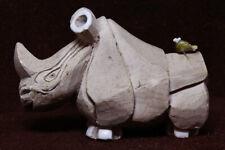 Rhinoceros Clay Hand Formed Glazed Ears Toes Birdie Friend on Rump See Video