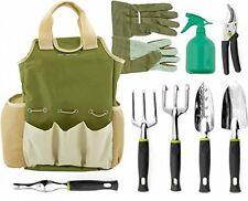 9 Piece Garden Tools Set W 6 Ergonomic Gardening Tools, Rake,bag gloves tote