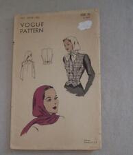 Vintage Womens Sewing Pattern Waistcoat Hood Hat 40's Vogue 5874