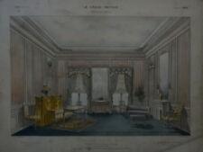 GRANDE LITHO XIX° DÉCORATION SALON LOUIS XVI ARCHITECTURE STYLE MOBILIER 1860