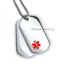 Double Medical Alert ID Dog Tag Red emblem. 18 lines engraved. Free Wallet Card!
