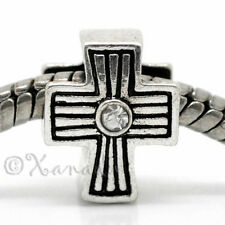 Cross European Charm Bead w Rhinestones For Charm Bracelet And Necklace Chains