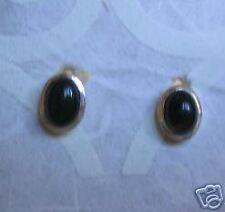 Sterling Silver Oval Shape Black Onyx Ear Stud Earrings (7EP) (NEW)