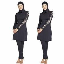 3 Piece Girls Womens Ladies Muslim Full Piece Costumes Modest Swimwear Burkini