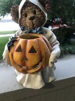 Halloween Ceramic Electric Light Teddy Bear Ghost Jack O Lantern Bats Spider 9""