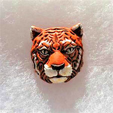 Peruvian Ceramic Tiger Face Pendant Focal Bead (1) Hand Painted