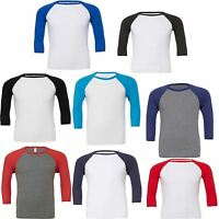 Canvas Unisex 3? Sleeve Baseball T-Shirt, Mens Ladies Slim Fit 3/4 Comfortable