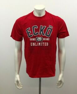 ECHO UNLIMITED Men's Medium Red Patched Spellout Cotton  Crew Neck T Shirt