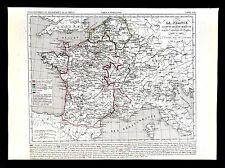 1849 Houze Map - France Explusion of the English 1422-1461 Paris Flanders Calais