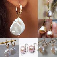 1Pair Mens Women Baroque Pearls Hoop Ear Stud Earrings Gothic Earbob Party