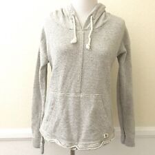 Billabong Womens Hoodie Sweatshirt Size SMALL Striped Oatmeal Gray with Pockets