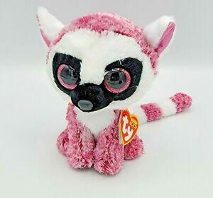 "Ty Beanie Boos 6"" Leeann the Pink Lemur Stuffed Animal Plush"