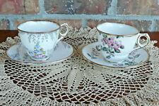 2 Royal Stafford Bone China Tea Cup & Saucer Sets w/Flower Patterns ~ England