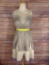 Ark & Co Silver Pleated dress with Transparent tulle panel hem small