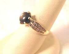 Real Round Cabochon Cat's Eye Diamonique CZ Vintage Ring 14K Gold 2.4gr Size 7