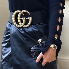 Gucci Wide Black leather belt with pearl Double G | Size 44 110 cm
