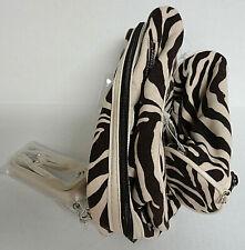 Makeup Cosmetic Toiletry Case Bag Set 2 Zebra Print Brown Cream Basics Nwot