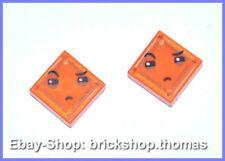 Lego 2 x Fliese mit Gesicht orange - 3070bpb109 - Tile Face - NEU / NEW