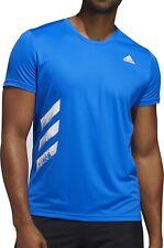 adidas Run It 3 Stripes PB Short Sleeve Mens Running Top - Blue