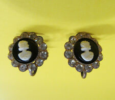 Earrings Gold tone Clear Rhinestone Cameo Screw back Signed CORO Vintage