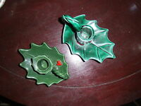 2 Vintage Lefton Japan Green Holly Leaves Christmas Candle Holders 2 Styles