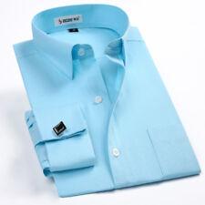 New Men's Fashion French Cuff Shirt with Cufflinks Business Dress Shirts MT347