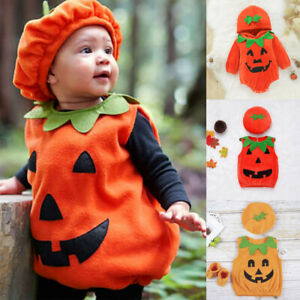 Toddler Baby Boys Girls Halloween Pumpkin Cosplay Costume Tops Hat Outfits Set